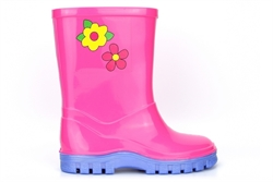 StormWells Girls Puddle Waterproof Wellington Boots With Textile Lining Pink/Lilac