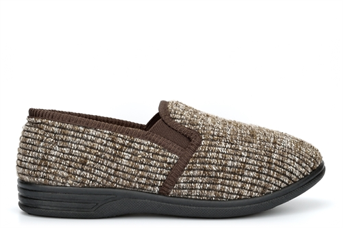 Zedzzz Mens KEITH Ribbed Knitted Textile Fleece Lining Twin Gusset Slip On Slippers Brown