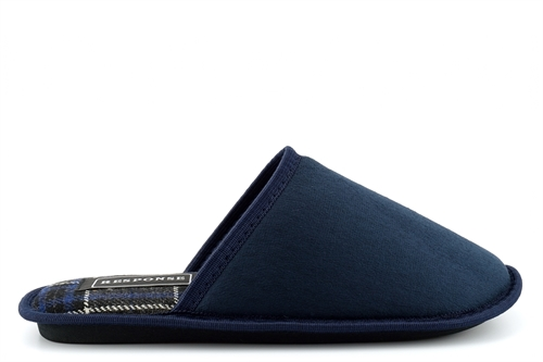 Response Mens Wallace Lightweight Tartan Mule Slippers With Soft Insole Navy
