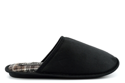 Response Mens Wallace Lightweight Tartan Mule Slippers With Soft Insole Black