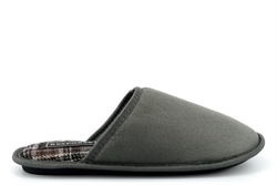 Response Mens Wallace Lightweight Tartan Mule Slippers With Soft Insole Grey