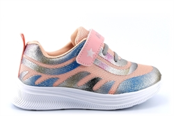 Ascot Girls Angel Touch Fastening Glitter Trainers With Elasticated Lace Peach/Silver