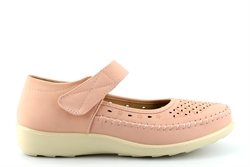Dr Lightfoot Womens Comfort Casual Shoes With Punched Apron Detail Pink