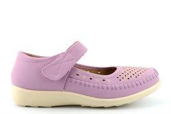 Dr Lightfoot Womens Comfort Casual Shoes With Punched Apron Detail Lilac
