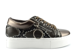 Krush Womens Ring And Zip Detail High Platform Trainers With Reptile Skin Detail Bronze