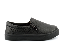 Little Diva Girls Reptile Skate Shoes With Twin Zip Fastening Black