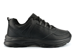 Calzados Mens Lightweight Lace Up Casual Trainers With Soft PU Upper Black