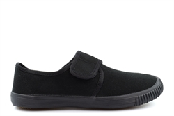 Dek Girls/Boys Touch Fastening Canvas Plimsolls With Natural Rubber Sole All Black