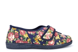 Sleepers Womens Wilma Wide Fit Cotton Slippers With Touch Fastening Floral Navy (EE Fitting)