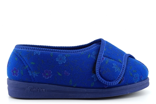 Comfylux Womens Superwide Washable Slippers With Touch Fastener Navy Blue (EEEE Fitting)