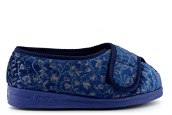 Comfylux Womens Super Wide Fit Slippers With Touch Fastener Blue (EEEE Fitting)