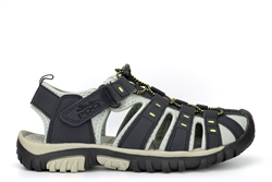 PDQ Boys Closed Toe Trail Sandals With Touch Fastening Navy Blue/Lime