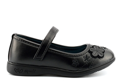 BXT Flower Detail Touch Fastening School Shoes With Soft Foam Insole Black