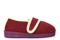 Comfylux Womens Super Wide Touch Fastening Slippers With Rubber Sole Burgundy (EEEE Fitting)