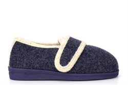 Comfylux Womens Super Wide Touch Fastening Slippers With Rubber Sole Navy (EEEE Fitting)