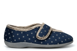 Sleepers Womens Lucy Microfibre Memory Foam Slippers With Touch Fastening And Rubber Sole Navy/Grey