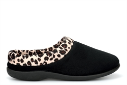 Sleepers Womens Celine Memory Foam Mule Slippers With Plush Velour Lining Black/Ocelot