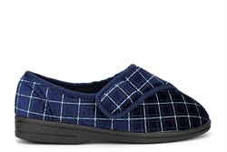 Zedzzz Mens George Touch Fastening Washable Slippers With Vulcanised Rubber Sole Navy Blue