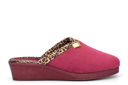 Sleepers JACKIE Womens Wedge Slip On Mule Slippers With Knitted Lining And Rubber Sole Burgundy