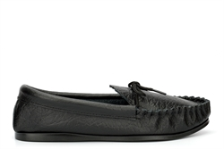 Mokkers Mens Gordon Moccasin Slippers With Softie Leather Upper Black