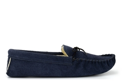 Mokkers Mens JAKE Real Suede Moccasin Slippers With Warm Thermal Lining Navy