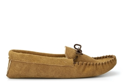 Mokkers Mens JAKE Real Suede Moccasin Slippers With Warm Thermal Lining Taupe