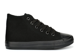 Boys/Girls High Top Canvas Shoes/Trainers All Black