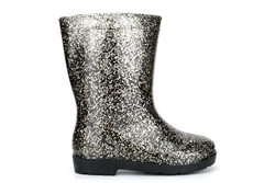 Girls Glitter Gem Waterproof Wellington Boots With Textile Lining Black/Silver