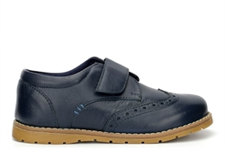 Chatterbox Boys Real Leather Touch Fastening Brogue Shoes Navy
