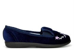 Jyoti Womens Slip On Slippers With Embroidered Flower Detail Navy