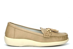 Boulevard Womens Tassel Loafers With Super Soft Comfort Insole Stone