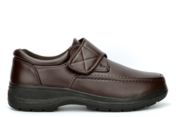 Charles Southwell Mens Wide Comfort Fit Lightweight Shoes With Touch Fastening Brown (E Fitting)