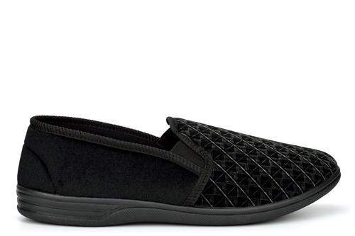 Jo & Joe Mens Austin Twin Gusset Slip On Carpet Slippers With Extra Large Sizes Black
