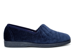 Sleepers Womens Zara Wide Fit Fan Stitched Slippers With Rubber Sole Navy Blue