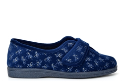 Sleepers Womens Ivy Touch Fastening V Throat Slippers With Rubber Sole Navy Blue (EE Fitting)