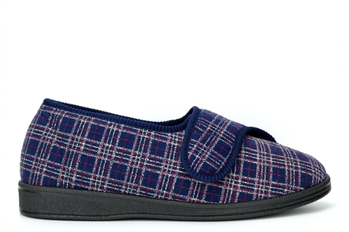 Sleepers Mens Julian II Touch Fastening Washable Memory Foam Wide Fit Slipper With Outdoor Sole Navy