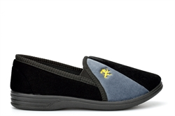 Zedzzz Mens Aaron Twin Gusset Slip On Carpet Slippers With Lion Motif Black/Grey