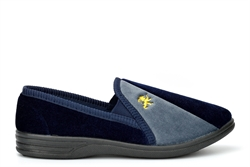 Zedzzz Mens Aaron Twin Gusset Slip On Carpet Slippers With Lion Motif Navy/Grey