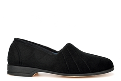Sleepers Womens Audrey III Roll Top Slippers With Rubber Sole Black