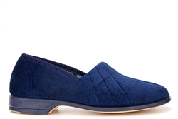 Sleepers Womens Audrey III Roll Top Slippers With Rubber Sole Navy Blue