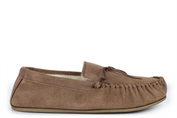Mokkers Mens Oliver Real Suede Moccasin Slippers With Wool Mix Warm Thermal Lining Dark Camel
