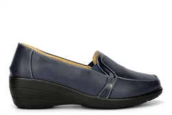 Moenia Womens Casual Shoes With Wedge Heels Navy Blue