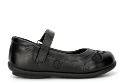 US Brass Girls Touch Fastening School Shoes With Stitched Heart Detail Black