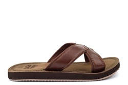 PDQ Mens Superlight Crossover Mule Sandals With Textile Lining Brown