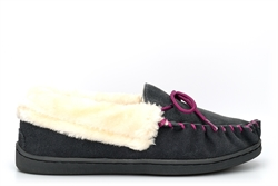 Jo & Joe Womens Real Suede Moccasin Slippers With Contrasting Lace And Stitching Charcoal/Purple