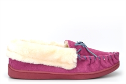 Jo & Joe Womens Real Suede Moccasin Slippers With Contrasting Lace And Stitching Dark Pink/Charcoal