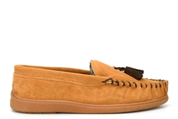Jo & Joe Mens Real Suede Moccasin Slippers With Faux Fur Lining And Tassel Detail Brown