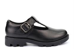 Roamers Girls Real Leather Memory Foam T-Bar School Shoes