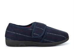 Sleepers Mens Carl Touch Fastening Memory Foam Slippers With Rubber Sole Navy