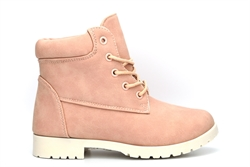 Twisted Girls Ankle Boots With Padded Collar Pink